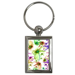 Multicolored Floral Print Pattern Key Chain (rectangle) by dflcprints