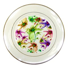 Multicolored Floral Print Pattern Porcelain Display Plate by dflcprints