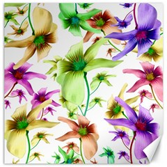 Multicolored Floral Print Pattern Canvas 16  X 16  (unframed) by dflcprints