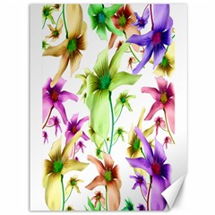 Multicolored Floral Print Pattern Canvas 36  X 48  (unframed) by dflcprints