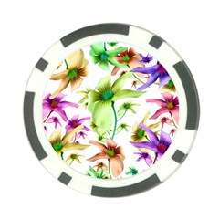 Multicolored Floral Print Pattern Poker Chip by dflcprints
