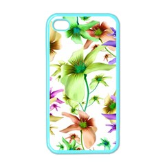 Multicolored Floral Print Pattern Apple Iphone 4 Case (color) by dflcprints