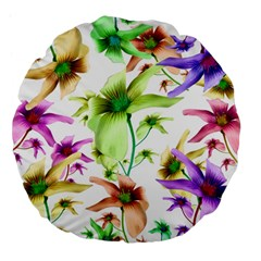 Multicolored Floral Print Pattern 18  Premium Flano Round Cushion  by dflcprints