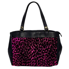 Hot Pink Leopard Print  Oversize Office Handbag (one Side) by OCDesignss