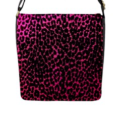 Hot Pink Leopard Print  Flap Closure Messenger Bag (large) by OCDesignss