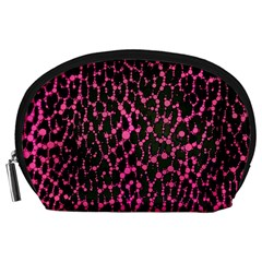 Hot Pink Leopard Print  Accessory Pouch (large) by OCDesignss