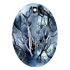Abstract Of Frozen Bush Oval Ornament (two Sides)