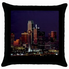 Dallas Skyline At Night Black Throw Pillow Case by StuffOrSomething