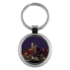 Dallas Skyline At Night Key Chain (round) by StuffOrSomething
