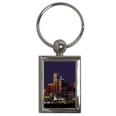 Dallas Skyline At Night Key Chain (rectangle) by StuffOrSomething