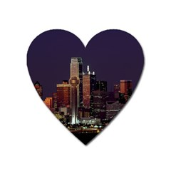 Dallas Skyline At Night Magnet (heart) by StuffOrSomething