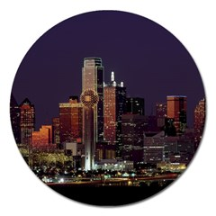 Dallas Skyline At Night Magnet 5  (round) by StuffOrSomething