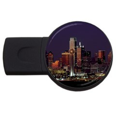 Dallas Skyline At Night 2gb Usb Flash Drive (round) by StuffOrSomething