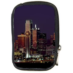 Dallas Skyline At Night Compact Camera Leather Case by StuffOrSomething