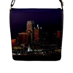 Dallas Skyline At Night Flap Closure Messenger Bag (large) by StuffOrSomething
