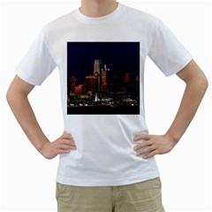 Dallas Skyline At Night Men s T Shirt (white)  by StuffOrSomething