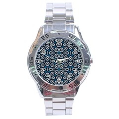 Floral Print Seamless Pattern In Cold Tones  Stainless Steel Watch