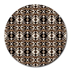 Geometric Tribal Style Pattern In Brown Colors Scarf 8  Mouse Pad (round) by dflcprints