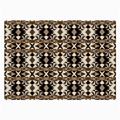 Geometric Tribal Style Pattern In Brown Colors Scarf Glasses Cloth (large, Two Sided) by dflcprints
