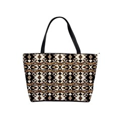 Geometric Tribal Style Pattern In Brown Colors Scarf Large Shoulder Bag by dflcprints