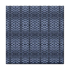 Futuristic Geometric Pattern Design Print In Blue Tones Ceramic Tile by dflcprints