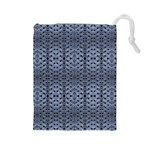 Futuristic Geometric Pattern Design Print in Blue Tones Drawstring Pouch (Large) Front