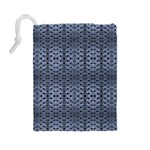 Futuristic Geometric Pattern Design Print in Blue Tones Drawstring Pouch (Large) Back