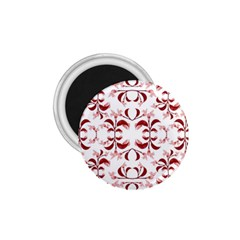 Floral Print Modern Pattern In Red And White Tones 1 75  Button Magnet by dflcprints