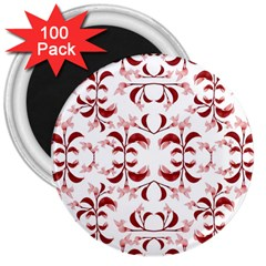 Floral Print Modern Pattern In Red And White Tones 3  Button Magnet (100 Pack) by dflcprints