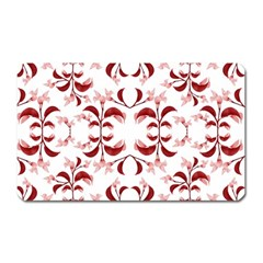 Floral Print Modern Pattern In Red And White Tones Magnet (rectangular) by dflcprints