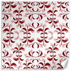 Floral Print Modern Pattern In Red And White Tones Canvas 16  X 16  (unframed) by dflcprints