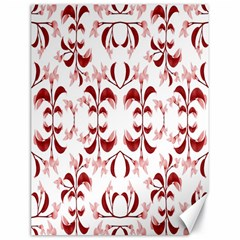 Floral Print Modern Pattern In Red And White Tones Canvas 18  X 24  (unframed) by dflcprints