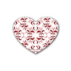 Floral Print Modern Pattern In Red And White Tones Drink Coasters 4 Pack (heart)  by dflcprints