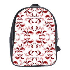 Floral Print Modern Pattern In Red And White Tones School Bag (xl) by dflcprints