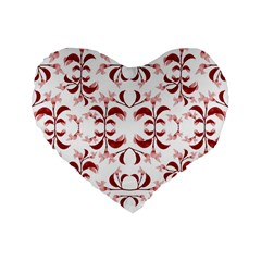 Floral Print Modern Pattern In Red And White Tones 16  Premium Flano Heart Shape Cushion  by dflcprints