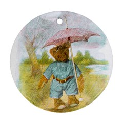 Vintage Drawing: Teddy Bear In The Rain Round Ornament by MotherGoose