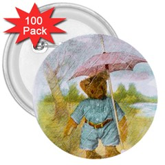 Vintage Drawing: Teddy Bear In The Rain 3  Button (100 Pack)
