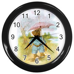 Vintage Drawing: Teddy Bear In The Rain Wall Clock (black) by MotherGoose
