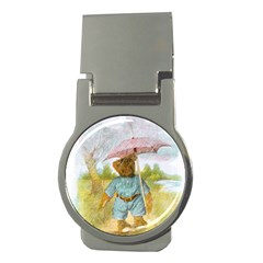Vintage Drawing: Teddy Bear In The Rain Money Clip (round) by MotherGoose