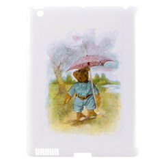 Vintage Drawing: Teddy Bear In The Rain Apple Ipad 3/4 Hardshell Case (compatible With Smart Cover) by MotherGoose