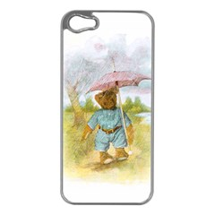 Vintage Drawing: Teddy Bear In The Rain Apple Iphone 5 Case (silver) by MotherGoose