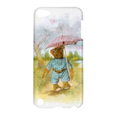 Vintage Drawing: Teddy Bear In The Rain Apple Ipod Touch 5 Hardshell Case by MotherGoose