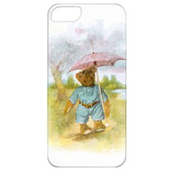 Vintage Drawing: Teddy Bear In The Rain Apple Iphone 5 Classic Hardshell Case by MotherGoose
