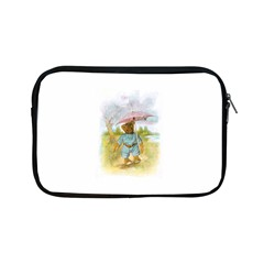 Vintage Drawing: Teddy Bear In The Rain Apple Ipad Mini Zippered Sleeve by MotherGoose