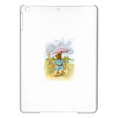 Vintage Drawing: Teddy Bear In The Rain Apple Ipad Air Hardshell Case by MotherGoose