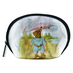 Vintage Drawing: Teddy Bear In The Rain Accessory Pouch (medium)