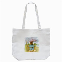 Vintage Drawing: Teddy Bear In The Rain Tote Bag (white) by MotherGoose