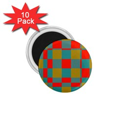 Squares In Retro Colors 1 75  Magnet (10 Pack)  by LalyLauraFLM