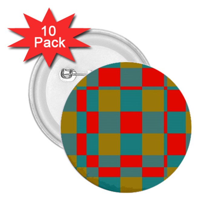 Squares in retro colors 2.25  Button (10 pack)