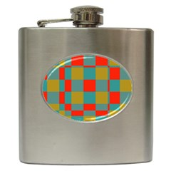 Squares In Retro Colors Hip Flask (6 Oz) by LalyLauraFLM